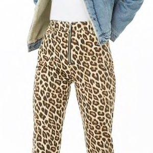 F21 Leopard Print High Rise Zip Front Jeans
